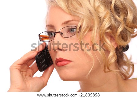 The beautiful blonde the girl telephones in business matters