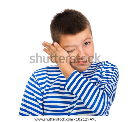 the beautiful boy the teenager isolated on a white background - stock photo