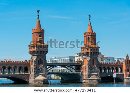 The beautiful bridge Oberbaumbruecke in Berlin, Germany