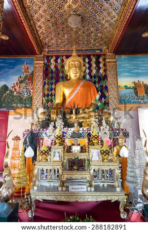 the beautiful Buddha statue at Wat Jamadhevi, Lamphun, Thailand - stock photo
