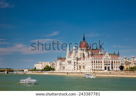 the beautiful building of the Parliament in Budapest, Hungary  - stock photo