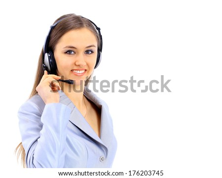 The beautiful business woman in headphones on a white background - stock photo