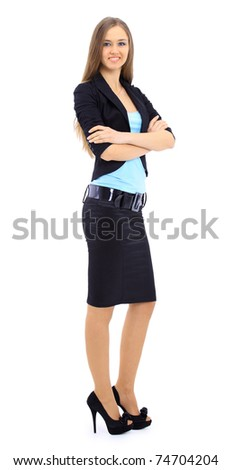The beautiful business woman on a white background - stock photo