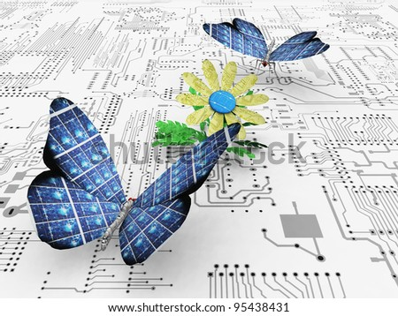 the beautiful butterfly and the circuit - stock photo