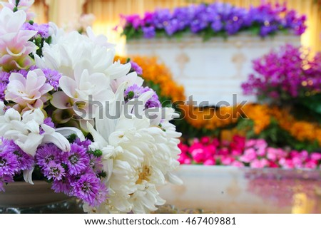 The Beautiful casket with The Flowers ( This picture is taken in a public area and be permitted to take picture for sale)
