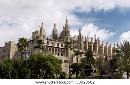 The beautiful Cathedral in Palma Mallorca Spain - stock photo