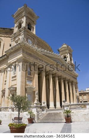 The beautiful church os Mosta - Malta island - stock photo