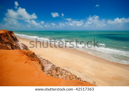 The beautiful coast at Ponta do Madeiro near Tibau do Sul and Pipa Brazil - stock photo