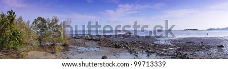 The beautiful coastal scenery at low tide - stock photo