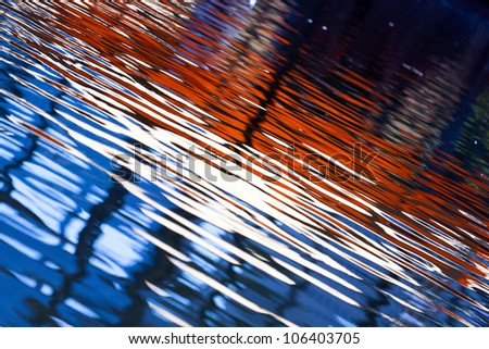 The beautiful colors reflected waves. - stock photo