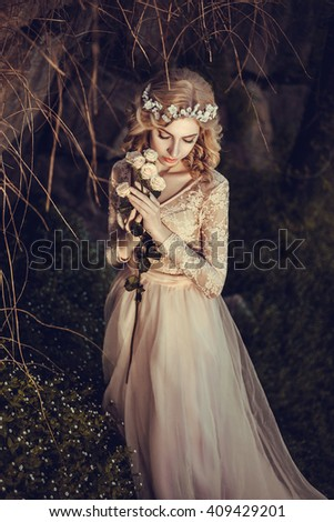 The beautiful countess in a long pastel dress  is walking in a green forest full of branches, elf,  Princess in vintage dress, the queen of the forest,fashionable toning creative computer colors