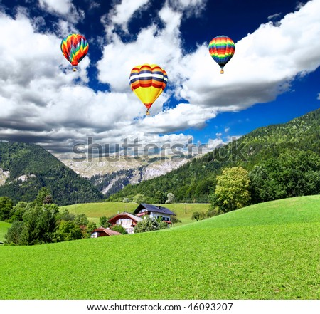 The beautiful countryside of St. Wolfgang in Lake district near Salzburg Austria - stock photo