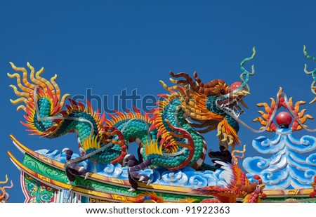 The beautiful dragon sculpture in the china temple