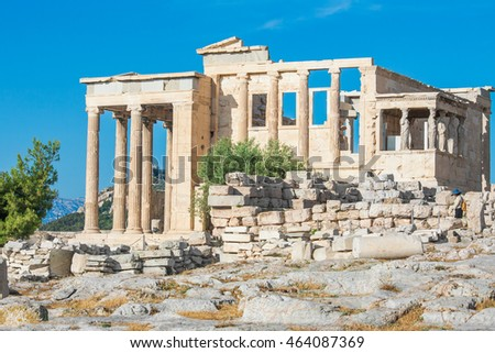 The beautiful Erechtheion in Acropolis of Athens, Greece.