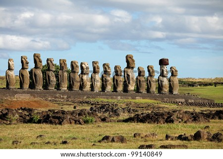 The beautiful fifteen Moai statues of Easter Island in the South Pacific - stock photo