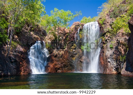 The beautiful Florence Falls in Litchfield National Park, with cool swimming hole at base. Northern Territory, Australia - stock photo