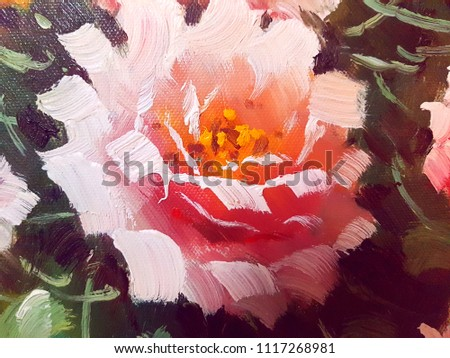 Beautiful Flowers Vase Canvas Oil Painting Stock Illustration