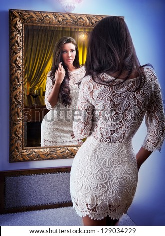 Woman Looking In Mirror Stock Images- Royalty-Free Images ...