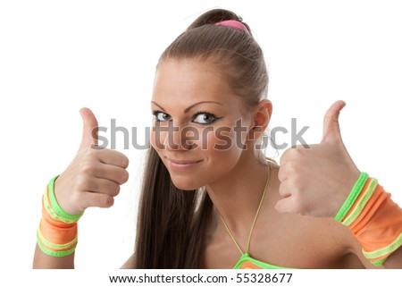 The beautiful girl in an orange suit on a white background. Fitness. - stock photo