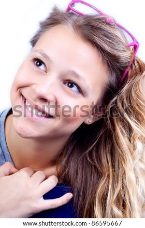 The beautiful girl likes to study. - stock photo