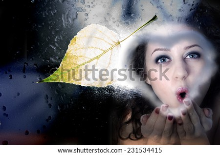 The beautiful girl looks out of the window.  - stock photo
