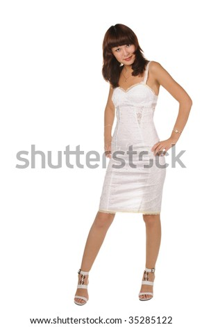 The beautiful girl on a white background. The Asian nationality