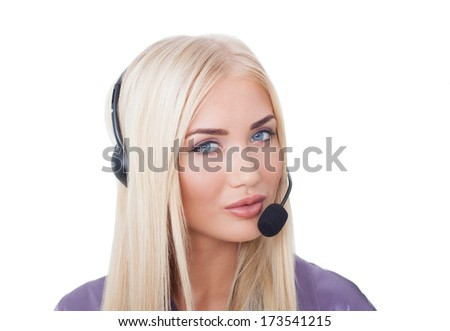 the beautiful girl the blonde the call center operator with blue eyes on the isolated white background - stock photo