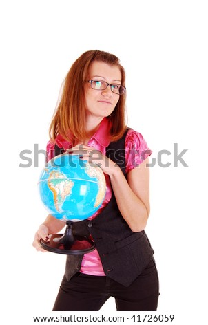The beautiful girl, the teacher of geography with the globe.