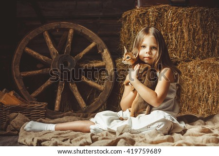 The beautiful girl with a cat about hay. - stock photo