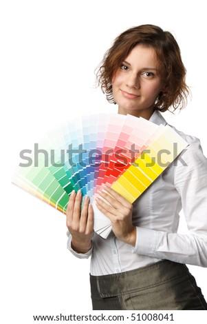 The beautiful girl with a color guide on a white background. - stock photo