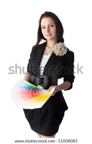 The beautiful girl with a color guide on a white background.