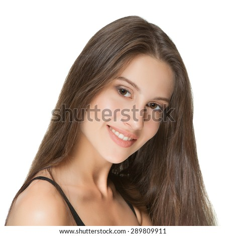The beautiful girl with a make-up in Spa salon after cosmetic procedures. - stock photo