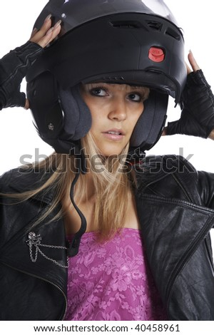 The beautiful girl with a motorcycle helmet on a white background