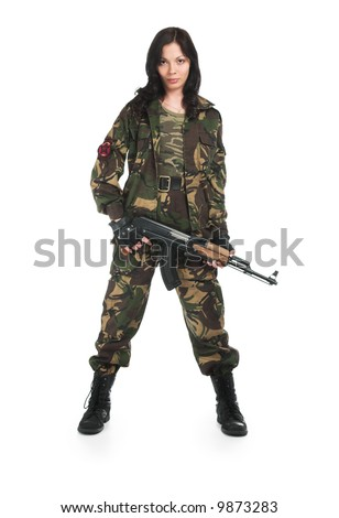 The beautiful girl with a rifle on a white background