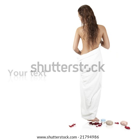 The beautiful girl with a towel - stock photo