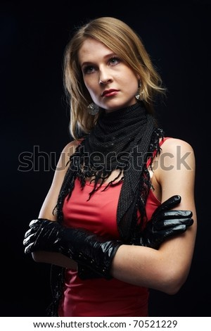The beautiful girl with black gloves