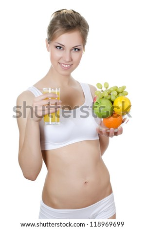 The beautiful girl with fruit and Juice
