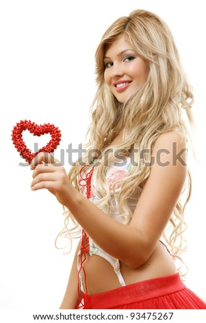 The beautiful girl with heart - stock photo