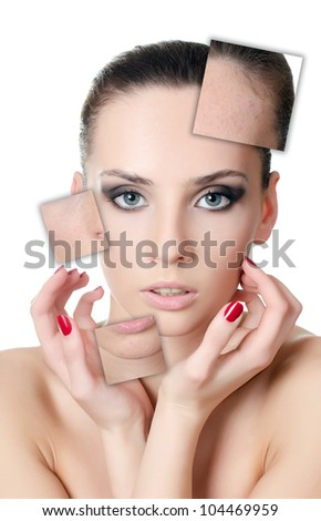 The beautiful girl with problems on face - stock photo