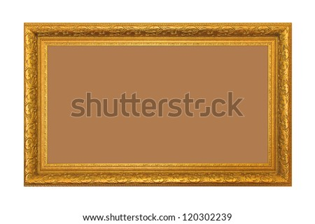 The beautiful golden rectangle frame with Thai pattern. - stock photo