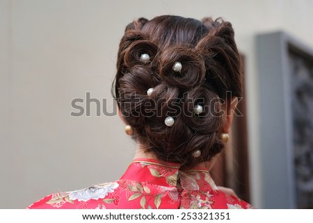 The beautiful hair of China Girl - stock photo