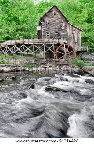 The beautiful historic Glade Creek Grist Mill after the spring rains. Located in Babcock State Park, West Virginia - stock photo