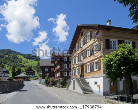 the beautiful historical village Schwarzenberg in Austria