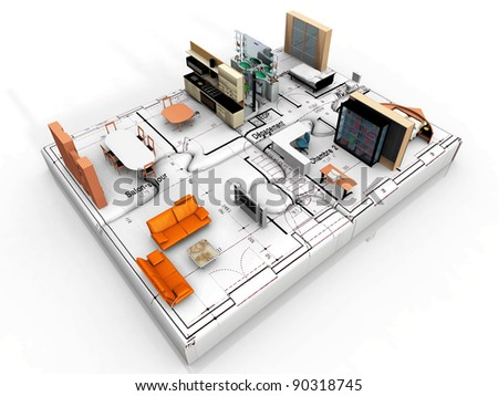the beautiful house on puzzle - stock photo