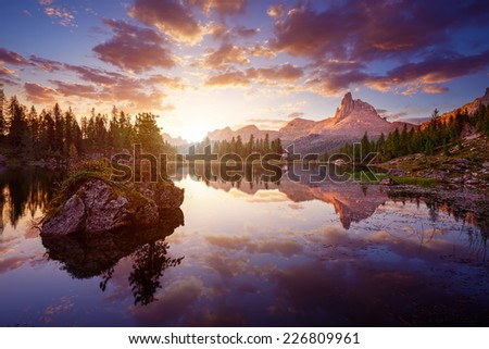 The beautiful  Lago Di federa See  early in the morning - stock photo