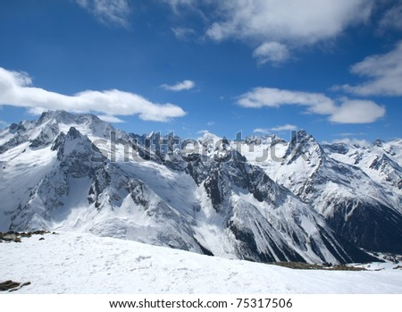 The beautiful landscape of the Caucasus Mountains Dombai - stock photo