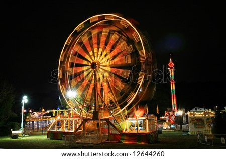 The beautiful light trails at night in a county carnival in New Jersey