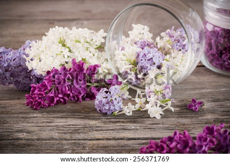 The beautiful lilac in jar on a wooden background - stock photo