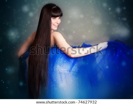 The beautiful long-haired girl