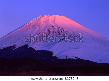 The beautiful morning  sunshine at Mt, fuji - stock photo
